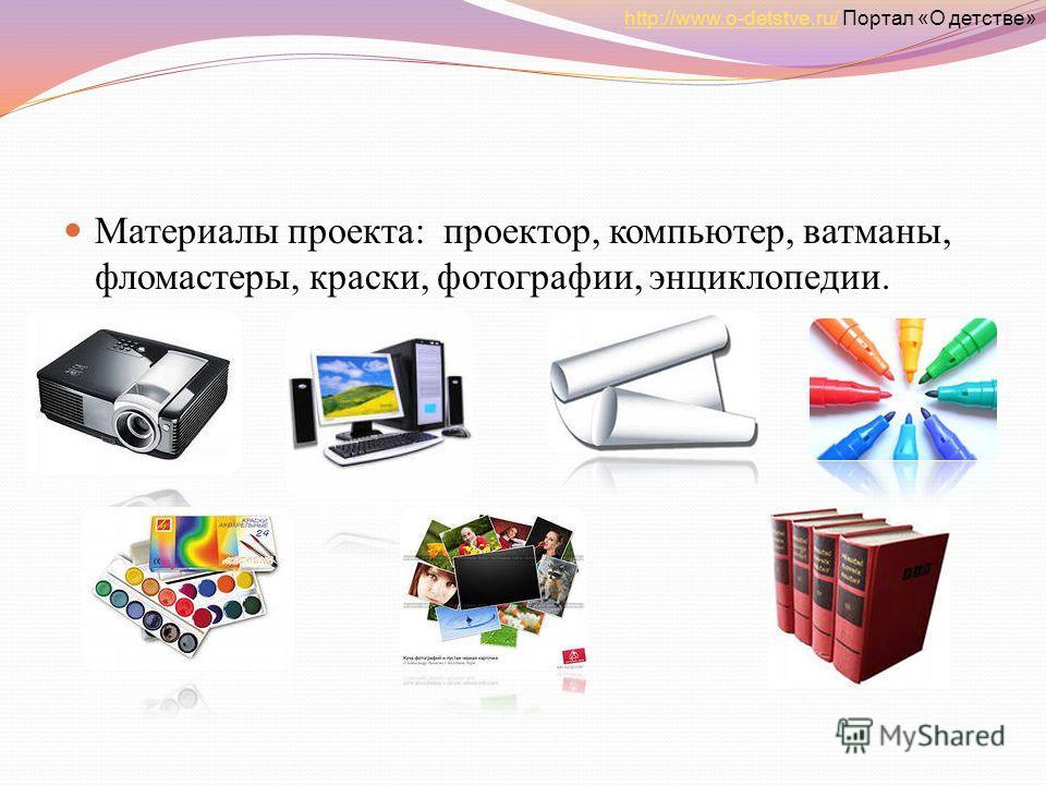 Материалы проекта: проектор, компьютер, ватманы, фломастеры, краски, фотографии, энциклопедии. http://www.o-detstve.ru/http://www.o-detstve.ru/ Портал «О детстве»