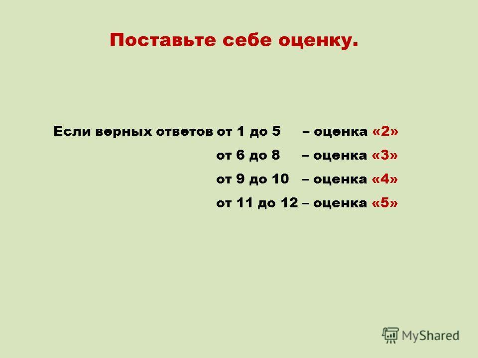 Поставьте себе оценку. Если верных ответов от 1 до 5 – оценка «2» от 6 до 8 – оценка «3» от 9 до 10 – оценка «4» от 11 до 12 – оценка «5»