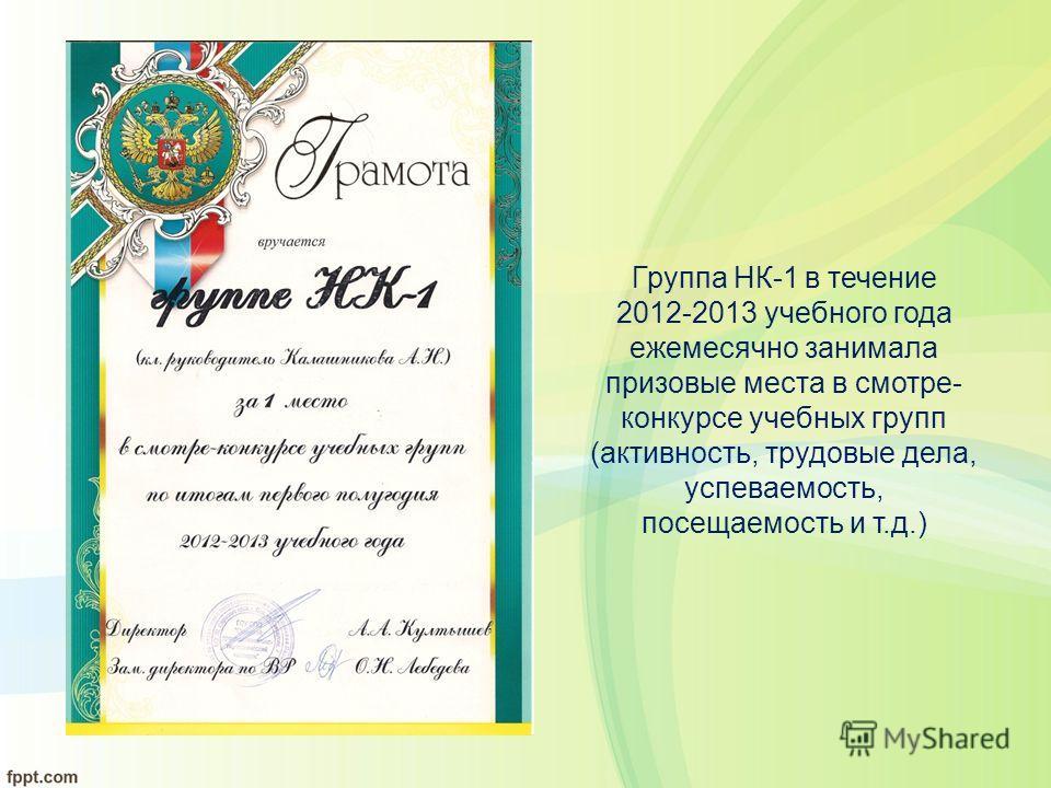 Группа НК-1 в течение 2012-2013 учебного года ежемесячно занимала призовые места в смотре- конкурсе учебных групп (активность, трудовые дела, успеваемость, посещаемость и т.д.)