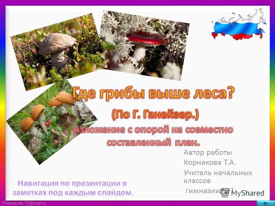 FokinaLida.75@mail.ru Автор работы Корнакова Т.А. Учитель начальных классов гимназии 1
