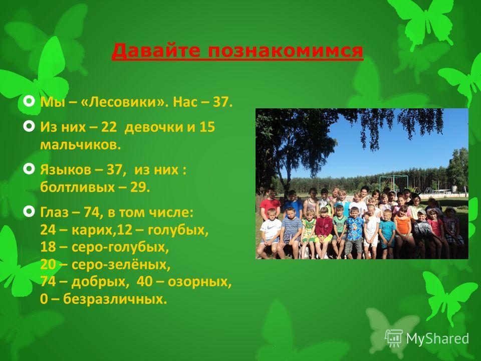 Давайте познакомимся Мы – «Лесовики». Нас – 37. Из них – 22 девочки и 15 мальчиков. Языков – 37, из них : болтливых – 29. Глаз – 74, в том числе: 24 – карих,12 – голубых, 18 – серо-голубых, 20 – серо-зелёных, 74 – добрых, 40 – озорных, 0 – безразличн