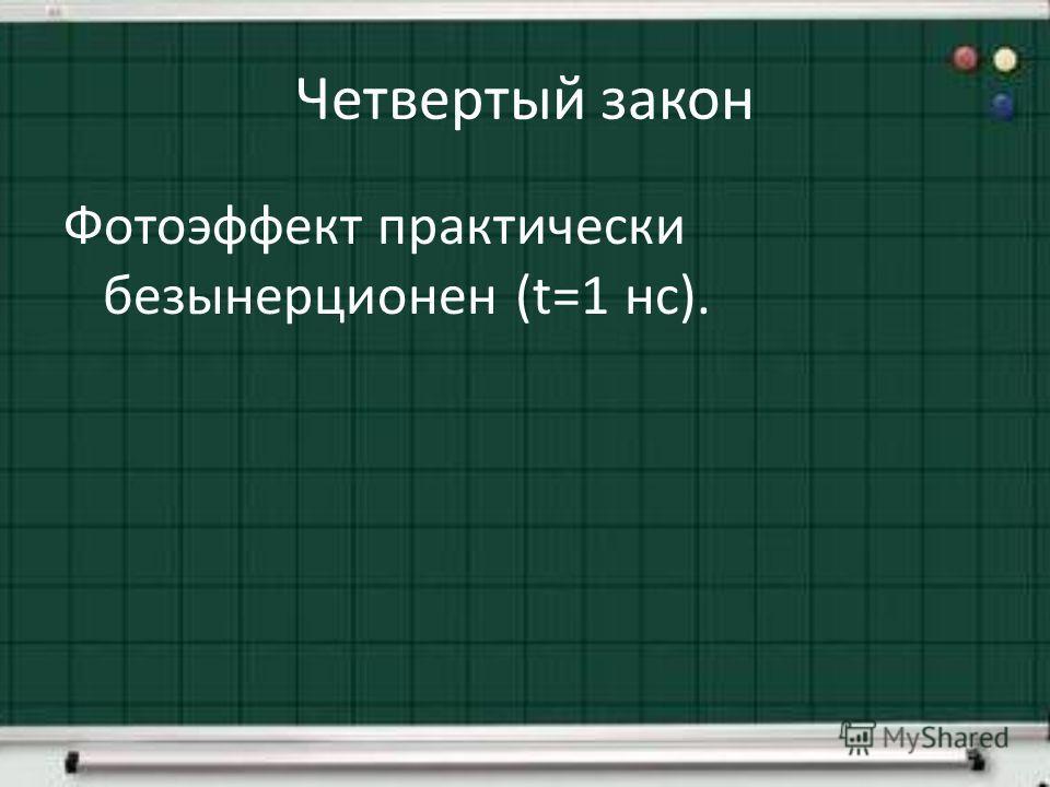 Четвертый закон Фотоэффект практически безынерционен (t=1 нс).