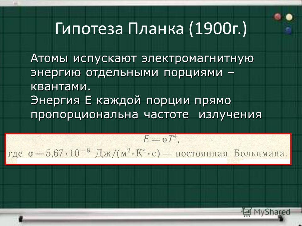 Гипотеза Планка (1900г.) Атомы испускают электромагнитную энергию отдельными порциями – квантами. Энергия Е каждой порции прямо пропорциональна частоте излучения