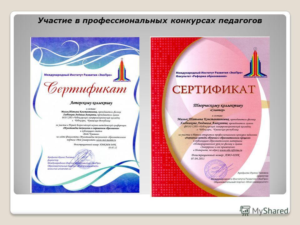 Участие в профессиональных конкурсах педагогов
