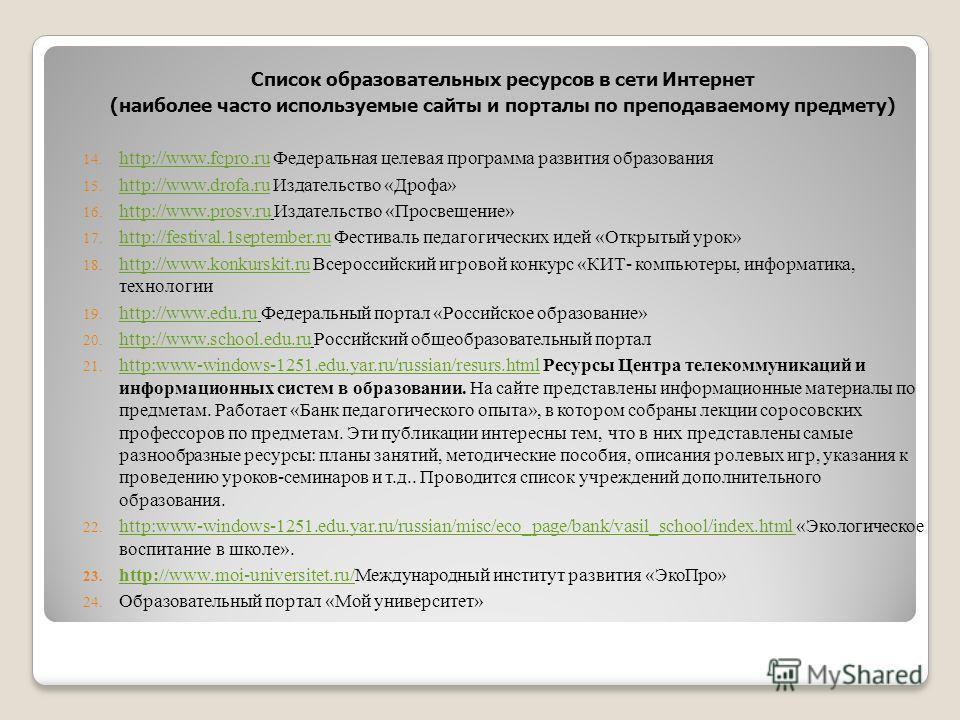 Список образовательных ресурсов в сети Интернет (наиболее часто используемые сайты и порталы по преподаваемому предмету) 14. http://www.fcpro.ru Федеральная целевая программа развития образования http://www.fcpro.ru 15. http://www.drofa.ru Издательст