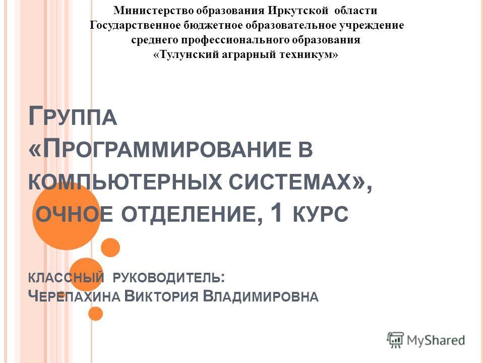 Г РУППА «П РОГРАММИРОВАНИЕ В КОМПЬЮТЕРНЫХ СИСТЕМАХ », ОЧНОЕ ОТДЕЛЕНИЕ, 1 КУРС КЛАССНЫЙ РУКОВОДИТЕЛЬ : Ч ЕРЕПАХИНА В ИКТОРИЯ В ЛАДИМИРОВНА Министерство образования Иркутской области Государственное бюджетное образовательное учреждение среднего професс