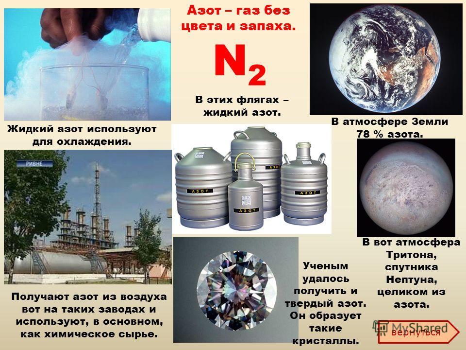 Азот – газ без цвета и запаха. В атмосфере Земли 78 % азота. В вот атмосфера Тритона, спутника Нептуна, целиком из азота. Жидкий азот используют для охлаждения. Получают азот из воздуха вот на таких заводах и используют, в основном, как химическое сы