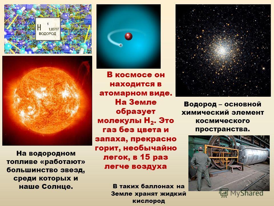 В космосе он находится в атомарном виде. На Земле образует молекулы Н 2. Это газ без цвета и запаха, прекрасно горит, необычайно легок, в 15 раз легче воздуха Водород – основной химический элемент космического пространства. На водородном топливе «раб