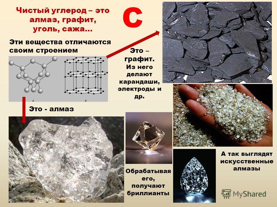 Чистый углерод – это алмаз, графит, уголь, сажа… Эти вещества отличаются своим строением Это - алмаз Обрабатывая его, получают бриллианты А так выглядят искусственные алмазы Это – графит. Из него делают карандаши, электроды и др. C