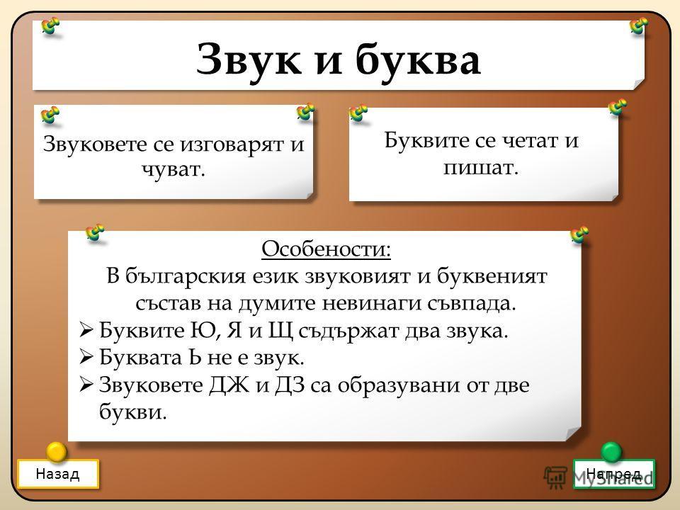 Звук и буква Звуковете се изговарят и чуват. Назад Напред Буквите се четат и пишат. Особености: В българския език звуковият и буквеният състав на думите невинаги съвпада. Буквите Ю, Я и Щ съдържат два звука. Буквата Ь не е звук. Звуковете ДЖ и ДЗ са