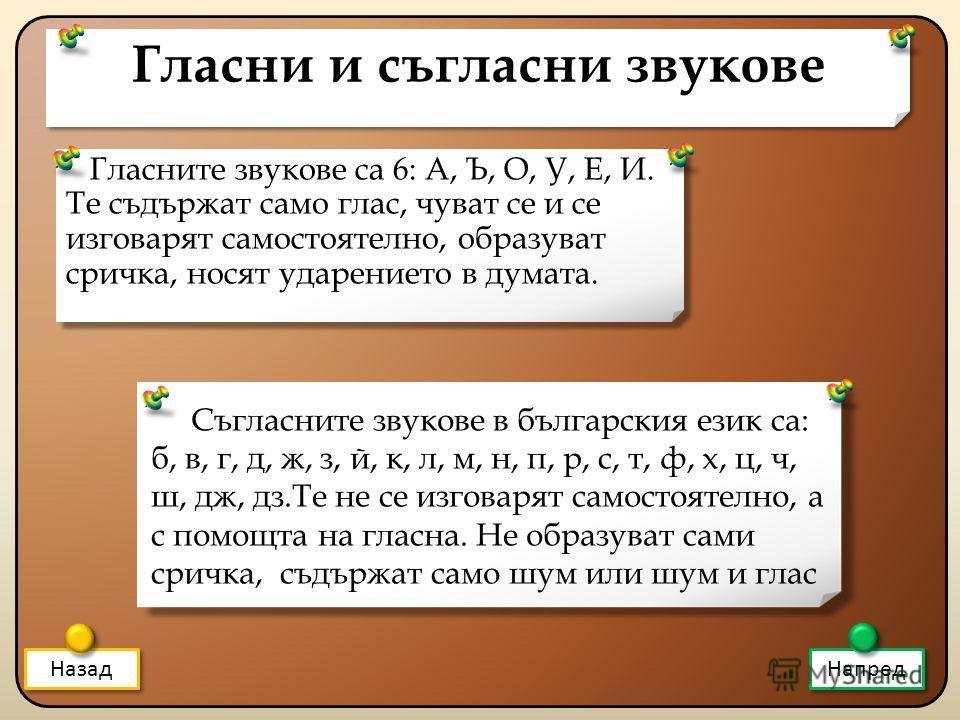 Гласни и съгласни звукове Гласните звукове са 6: А, Ъ, О, У, Е, И. Те съдържат само глас, чуват се и се изговарят самостоятелно, образуват сричка, носят ударението в думата. Назад Напред Съгласните звукове в българския език са: б, в, г, д, ж, з, й, к