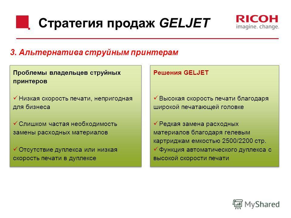 Стратегия продаж GELJET Проблемы владельцев струйных принтеров Низкая скорость печати, непригодная для бизнеса Слишком частая необходимость замены расходных материалов Отсутствие дуплекса или низкая скорость печати в дуплексе Проблемы владельцев стру
