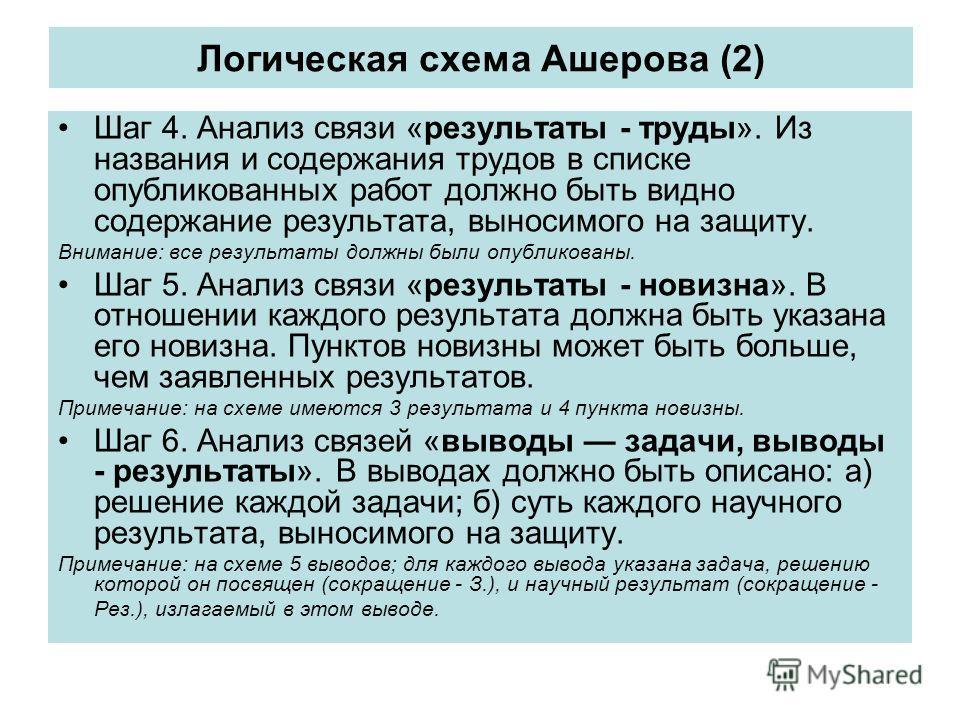 Логическая схема Ашерова (2) Шаг 4. Анализ связи «результаты - труды». Из названия и содержания трудов в списке опубликованных работ должно быть видно содержание результата, выносимого на защиту. Внимание: все результаты должны были опубликованы. Шаг
