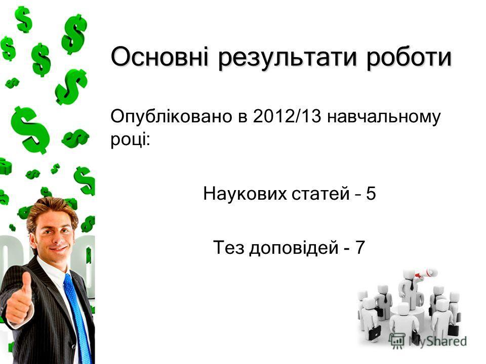 Основні результати роботи Опубліковано в 2012/13 навчальному році : Наукових статей – 5 Тез доповідей - 7