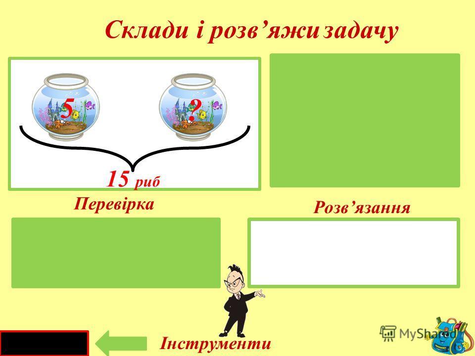 17 - 10 = 7 (л) I -I - II – ?л 17 літрів 17 л 10л I каністраII каністра 10 ? Склади і розвяжи задачу Розвязання Перевірка Інструменти