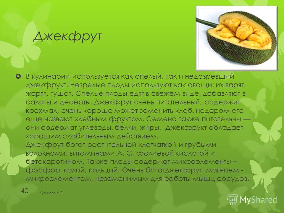 Джекфрут В кулинарии используется как спелый, так и недозревший джекфрукт. Незрелые плоды используют как овощи: их варят, жарят, тушат. Спелые плоды едят в свежем виде, добавляют в салаты и десерты. Джекфрут очень питательный, содержит крахмал, очень