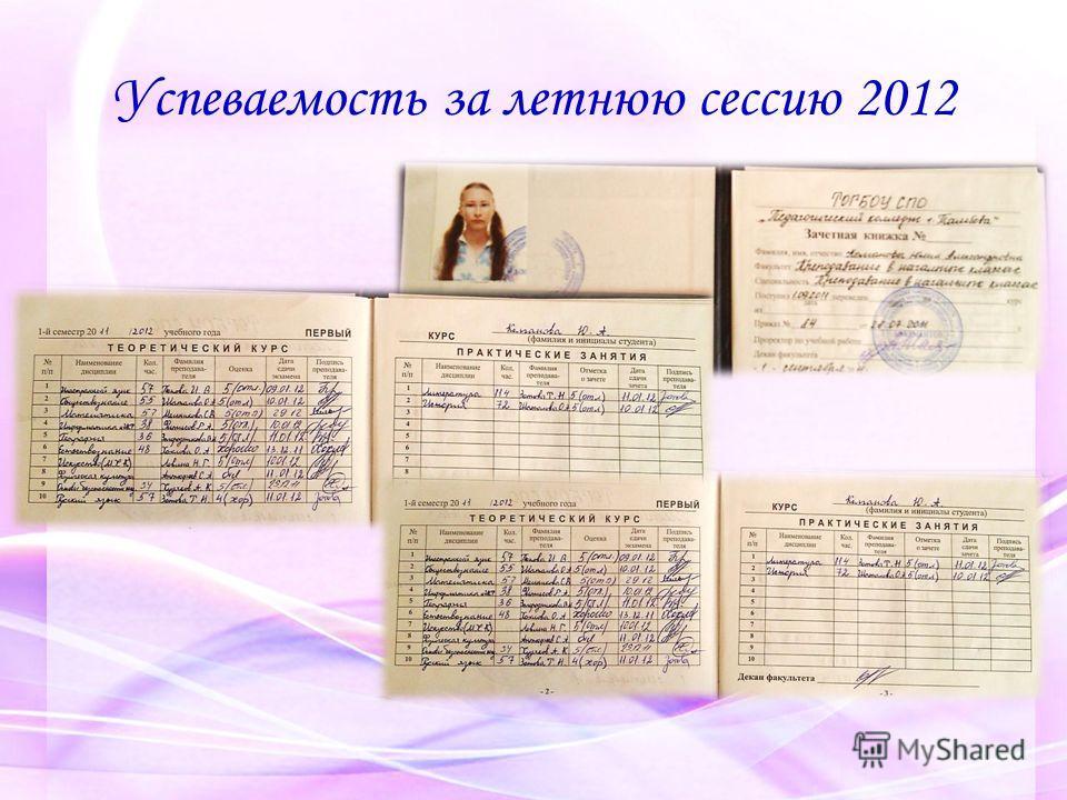 Успеваемость за летнюю сессию 2012