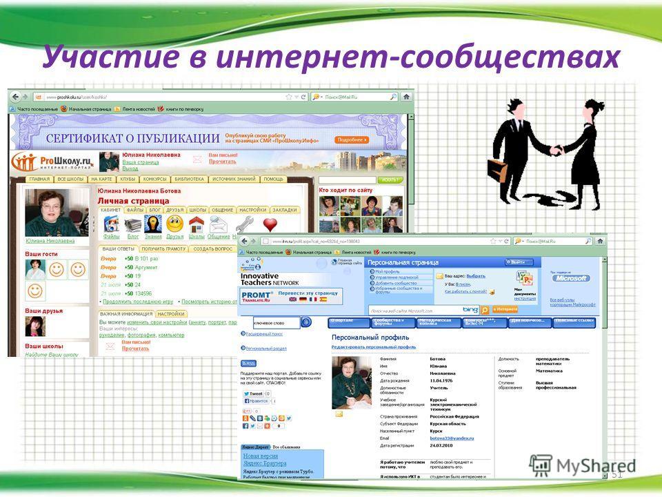 Участие в интернет-сообществах 51