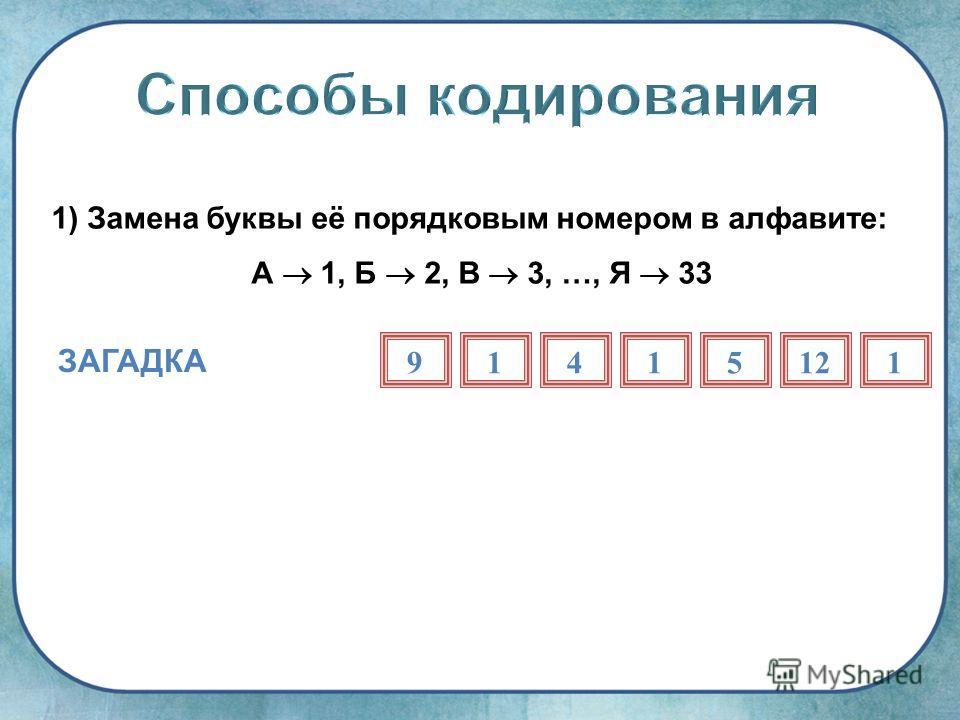 1) Замена буквы её порядковым номером в алфавите: А 1, Б 2, В 3, …, Я 33 ЗАГАДКА 91415121