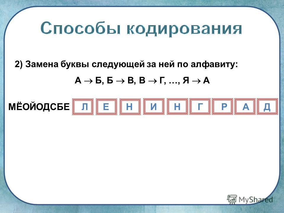 2) Замена буквы следующей за ней по алфавиту: А Б, Б В, В Г, …, Я А МЁОЙОДСБЕЛЕНИНГРАД