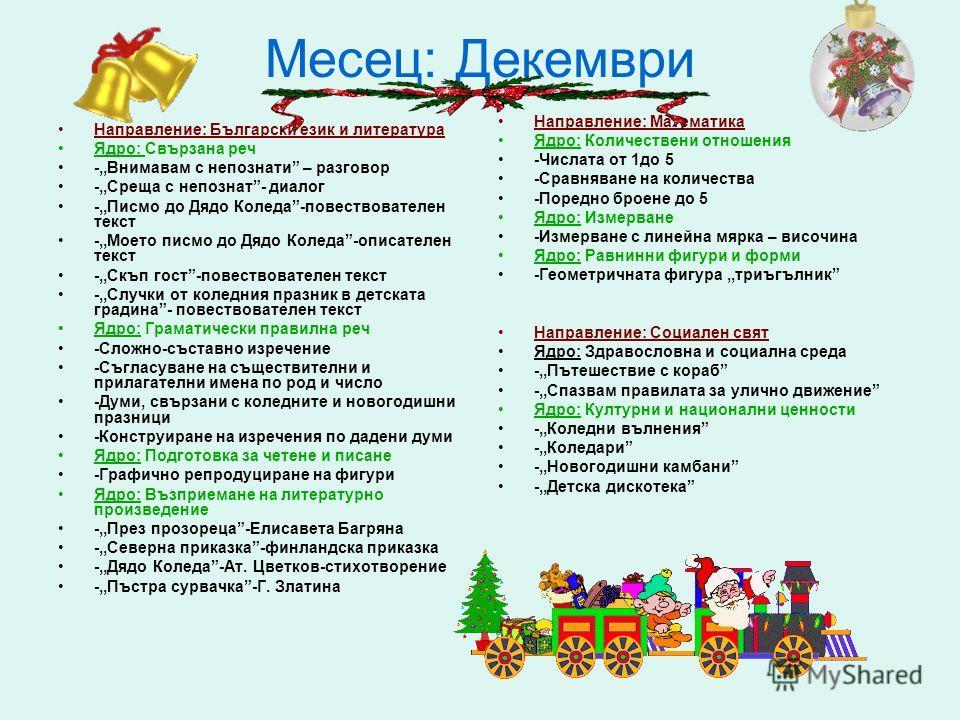 Месец: Декември Направление: Български език и литература Ядро: Свързана реч -,,Внимавам с непознати – разговор -,,Среща с непознат- диалог -,,Писмо до Дядо Коледа-повествователен текст -,,Моето писмо до Дядо Коледа-описателен текст -,,Скъп гост-повес