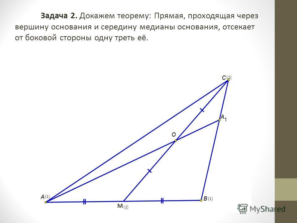 Задача 2. Докажем теорему: Прямая, проходящая через вершину основания и середину медианы основания, отсекает от боковой стороны одну треть её. (2) (1) (2) М