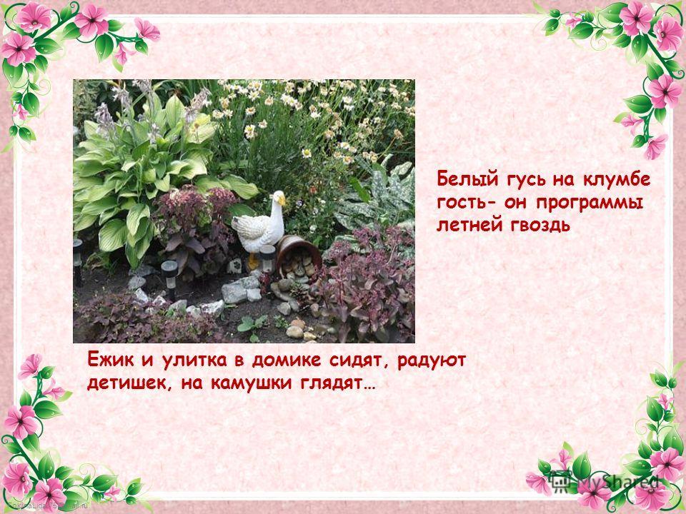 FokinaLida.75@mail.ru Ежик и улитка в домике сидят, радуют детишек, на камушки глядят… Белый гусь на клумбе гость- он программы летней гвоздь