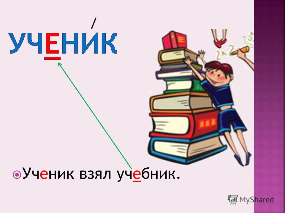 Ученик взял учебник.