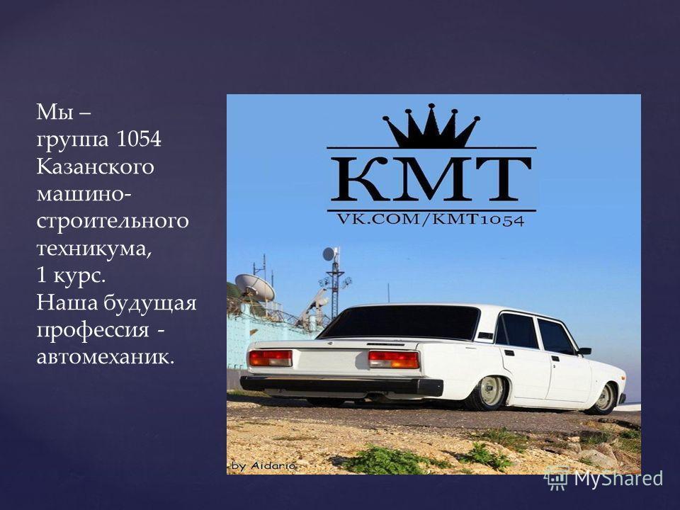 Мы – группа 1054 Казанского машино- строительного техникума, 1 курс. Наша будущая профессия - автомеханик.