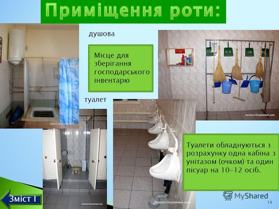 душова туалет. Туалети обладнуються з розрахунку одна кабіна з унітазом (очком) та один пісуар на 10-12 осіб. 13 Зміст І Місце для зберігання господарського інвентарю