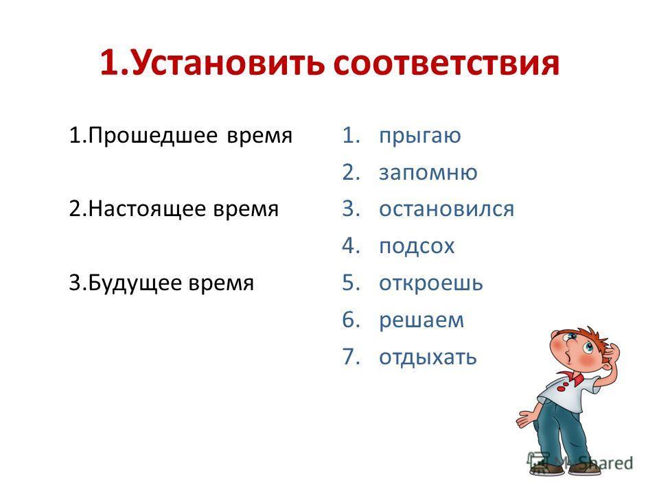 1.Установить соответствия 1.Прошедшее время 2.Настоящее время 3.Будущее время 1.прыгаю 2.запомню 3.остановился 4.подсох 5.откроешь 6.решаем 7.отдыхать
