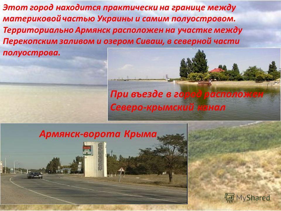 Армянск является одним из центров химической отрасли промышленности. Самый большой в Украине «Сивашский анилинокрасочный завод»- предприятие по производству красок для легкой промышленности. Ведущим предприятием является завод по производству, окиси