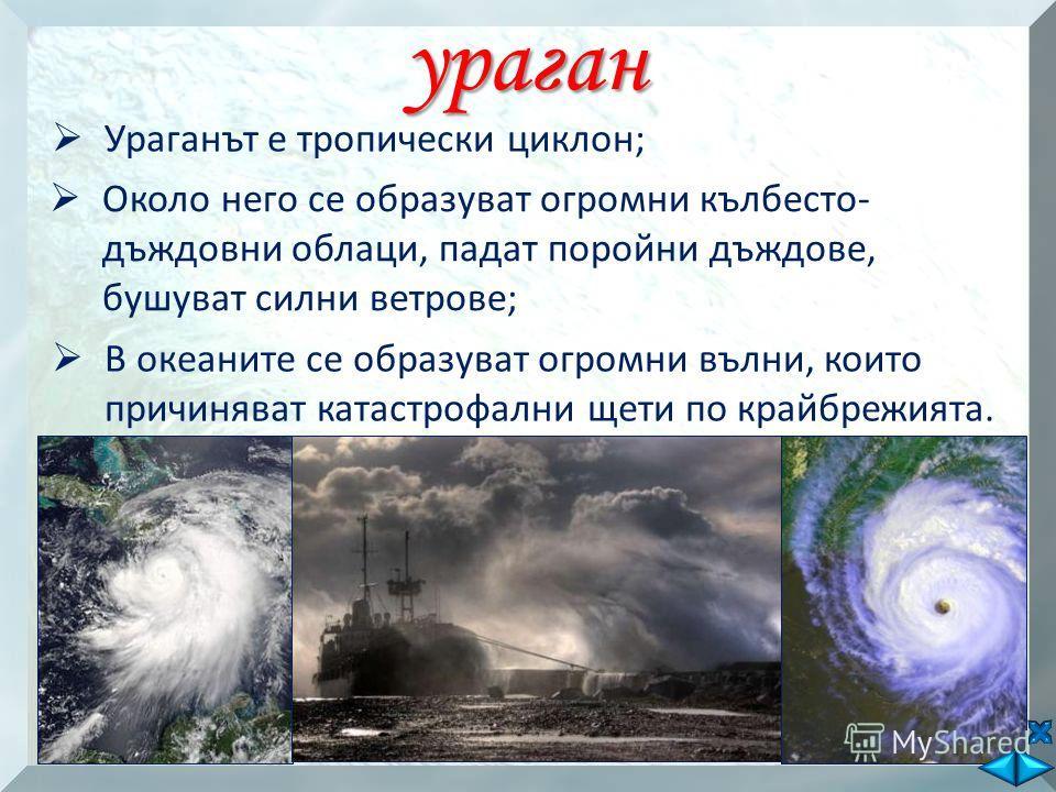 ураган Ураганът е тропически циклон; Около него се образуват огромни кълбесто- дъждовни облаци, падат поройни дъждове, бушуват силни ветрове; В океаните се образуват огромни вълни, които причиняват катастрофални щети по крайбрежията.