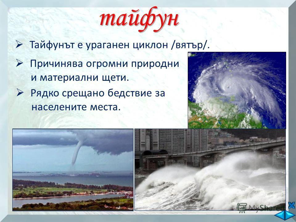 тайфун Тайфунът е ураганен циклон /вятър/. Причинява огромни природни и материални щети. Рядко срещано бедствие за населените места.