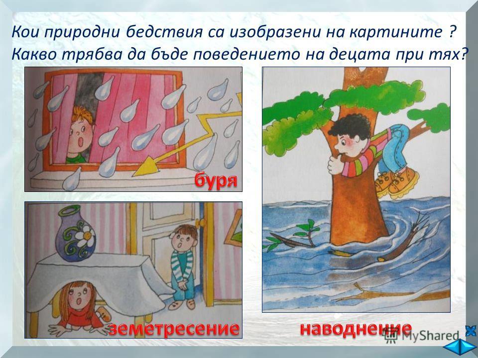 Кои природни бедствия са изобразени на картините ? Какво трябва да бъде поведението на децата при тях?