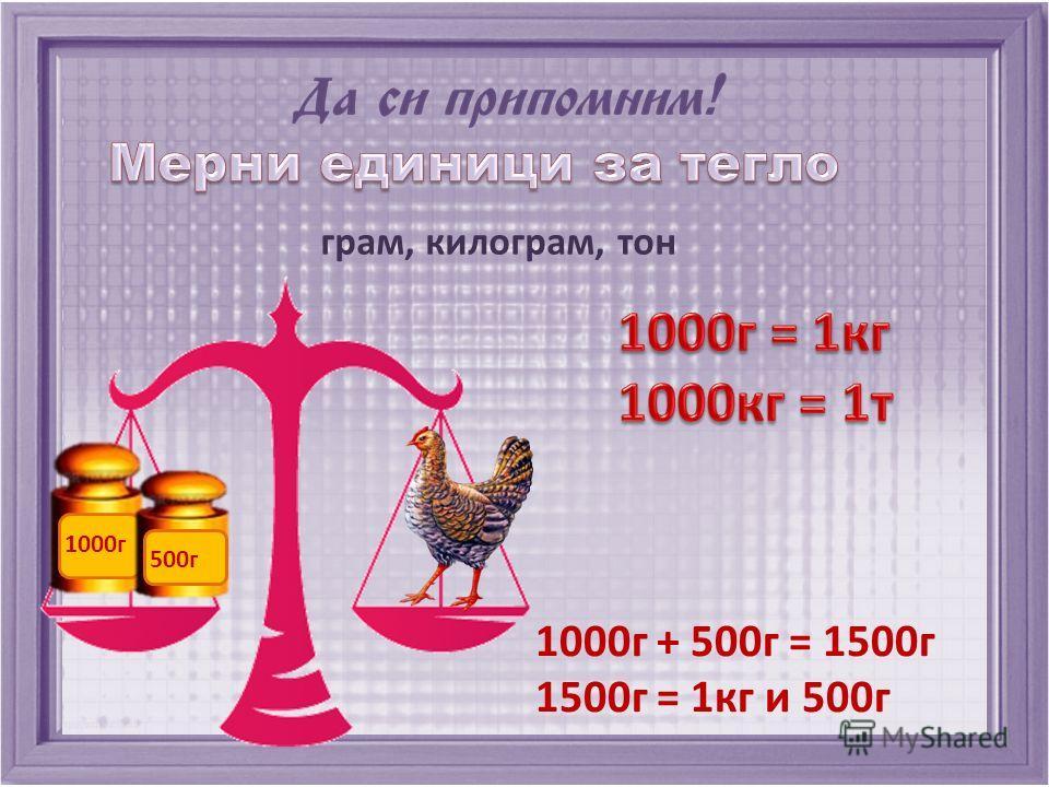 грам, килограм, тон 1000г + 500г = 1500г 1500г = 1кг и 500г 1000г 500г