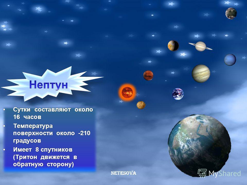 Netesova Год равен приблизительно 84 годаГод равен приблизительно 84 года Вращается, как бы лёжа на бокуВращается, как бы лёжа на боку Температура около -130 градусовТемпература около -130 градусов Имеет 15 спутников (самые крупные: Миранда, Ариэль,