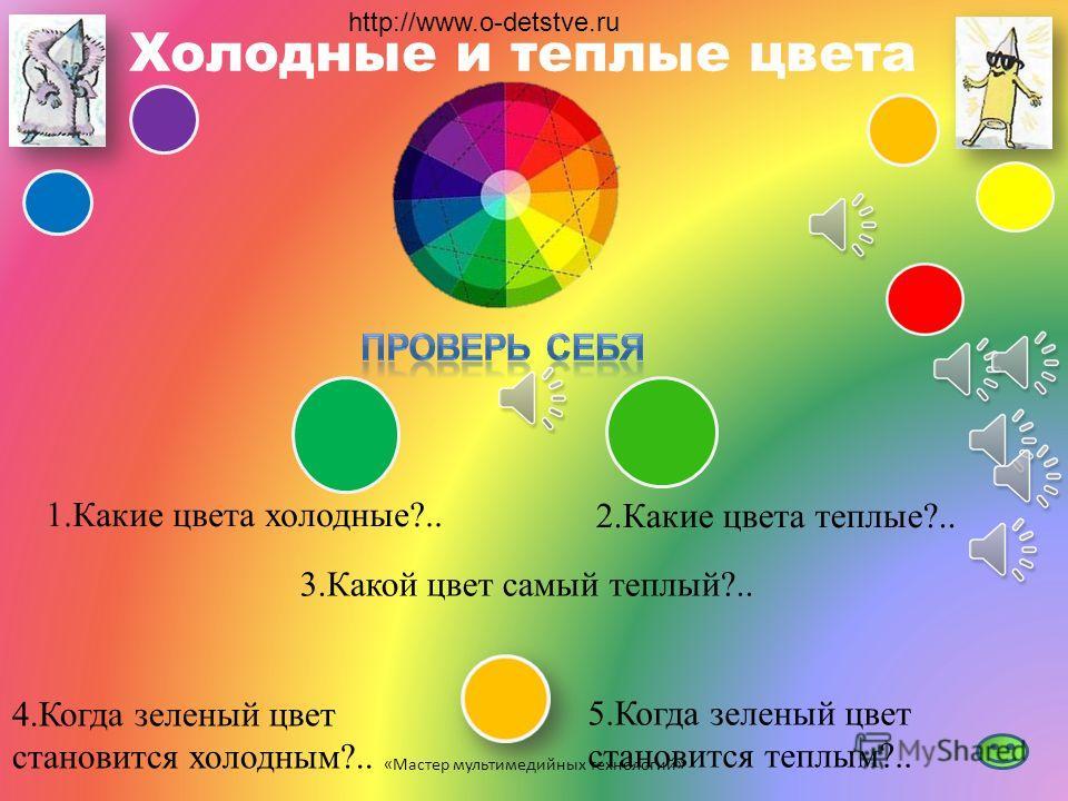 Основные и составные цвета 1.Назови главные (основные) цвета… 2.Какие знаешь составные (дополнительные)цвета?.. 3.Как получить дополнительные цвета самостоятельно?.. «Мастер мультимедийных технологий» http://www.o-detstve.ru