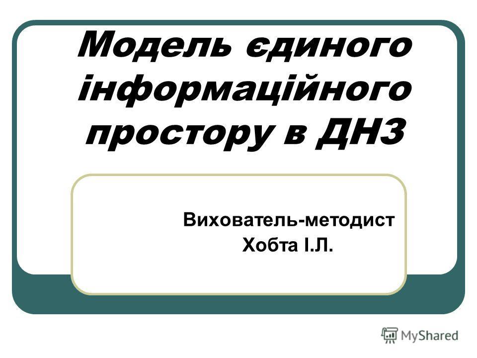 Модель єдиного інформаційного простору в ДНЗ Вихователь-методист Хобта І.Л.