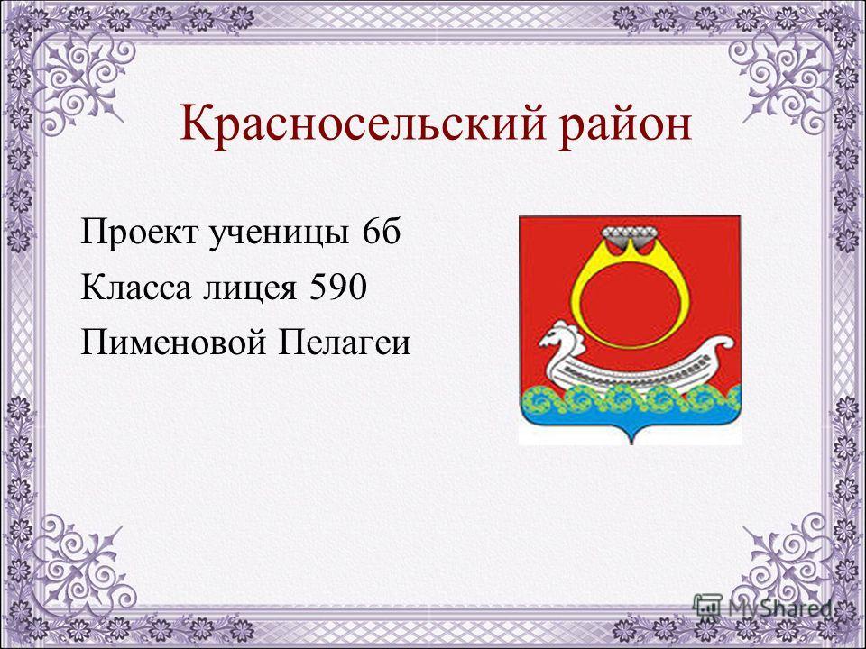 Красносельский район Проект ученицы 6б Класса лицея 590 Пименовой Пелагеи