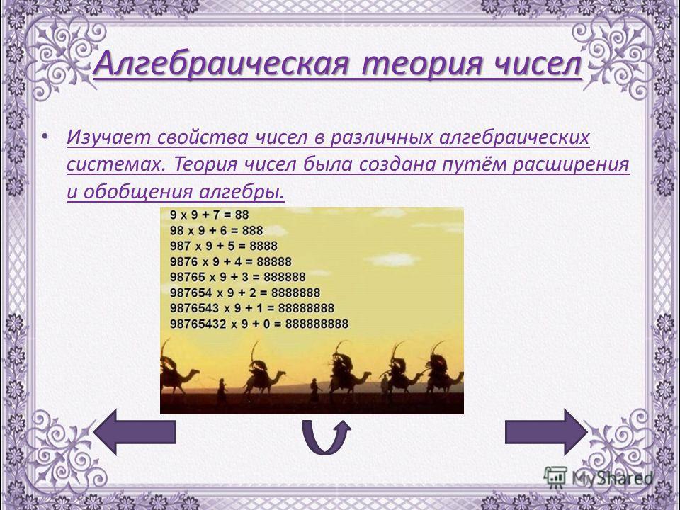Алгебраическая теория чисел Изучает свойства чисел в различных алгебраических системах. Теория чисел была создана путём расширения и обобщения алгебры. Изучает свойства чисел в различных алгебраических системах. Теория чисел была создана путём расшир