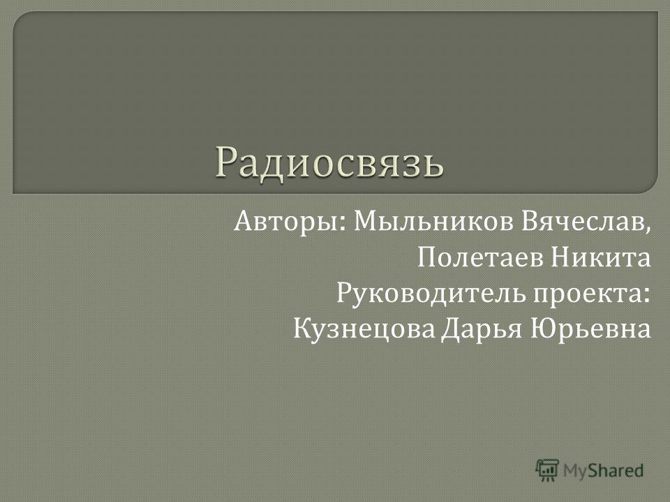 Авторы : Мыльников Вячеслав, Полетаев Никита Руководитель проекта : Кузнецова Дарья Юрьевна