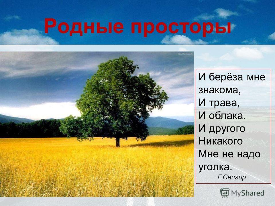 Родные просторы И берёза мне знакома, И трава, И облака. И другого Никакого Мне не надо уголка. Г.Сапгир