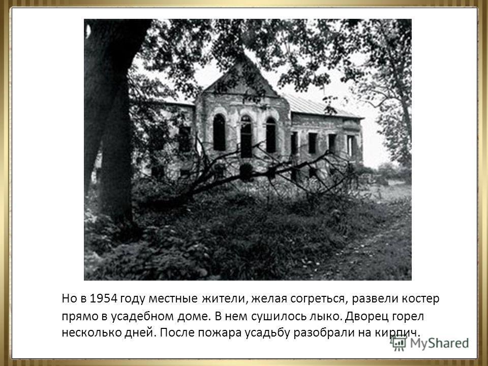 Но в 1954 году местные жители, желая согреться, развели костер прямо в усадебном доме. В нем сушилось лыко. Дворец горел несколько дней. После пожара усадьбу разобрали на кирпич.
