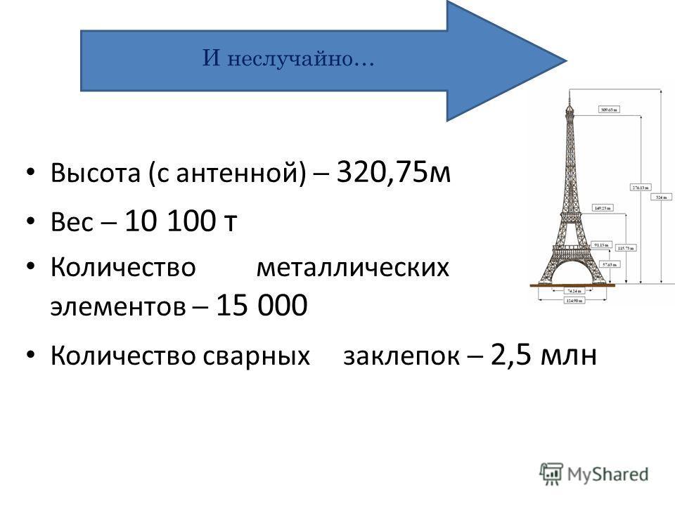 Высота (с антенной) 320,75м Вес 10 100 т Количество металлических элементов 15 000 Количество сварных заклепок 2,5 млн И неслучайно…