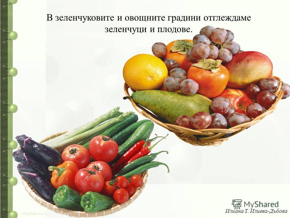 В зеленчуковите и овощните градини отглеждаме зеленчуци и плодове. Илиана Т. Илиева-Дъбова