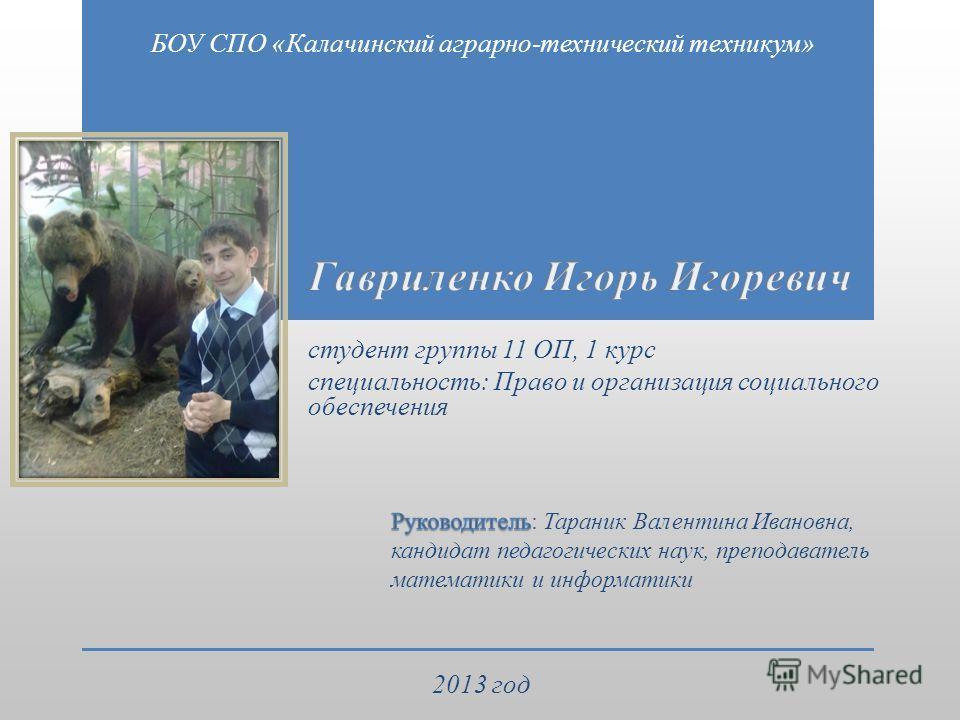 БОУ СПО «Калачинский аграрно-технический техникум» 2013 год