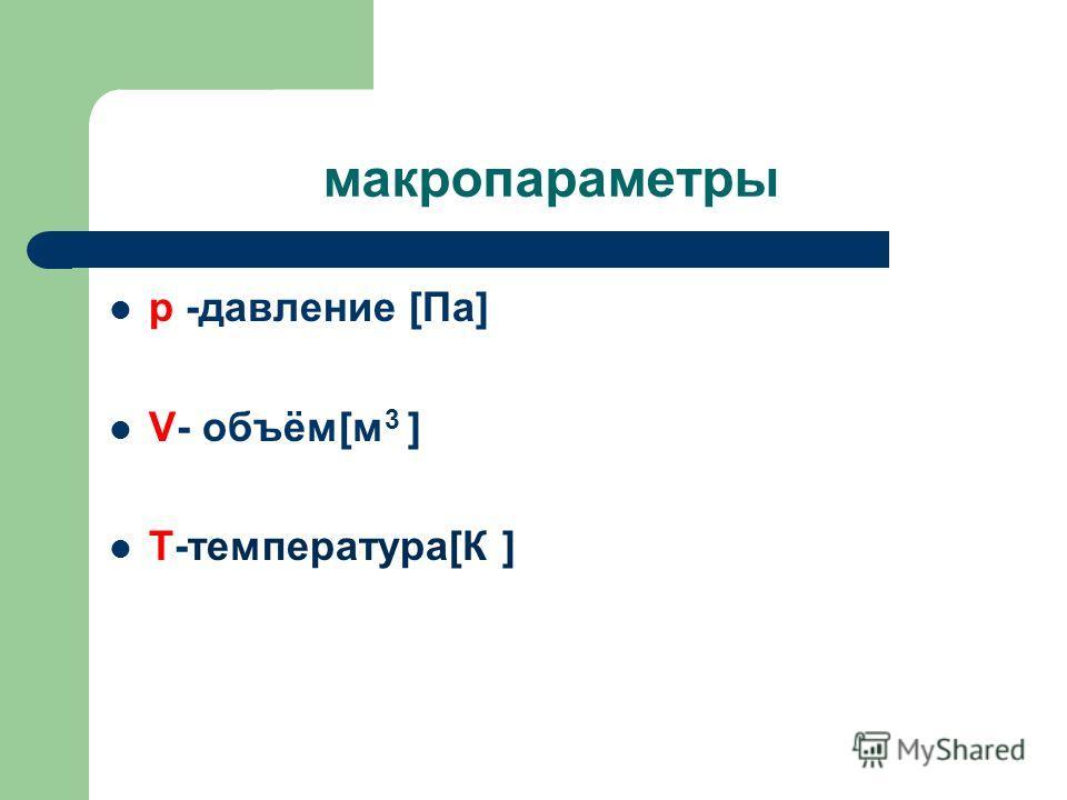 макропараметры р -давление [Па] V- объём[м 3 ] Т-температура[К ]