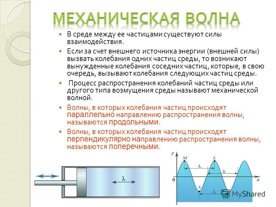 В среде между ее частицами существуют силы взаимодействия. Если за счет внешнего источника энергии ( внешней силы ) вызвать колебания одних частиц среды, то возникают вынужденные колебания соседних частиц, которые, в свою очередь, вызывают колебания