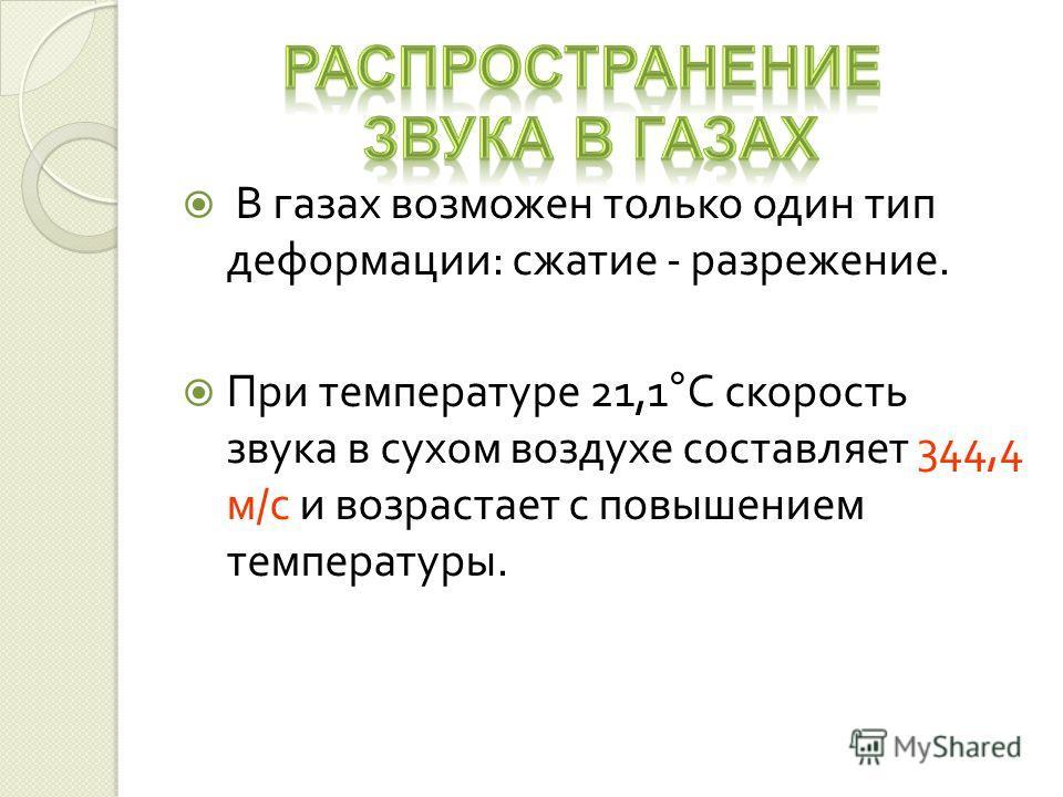 В газах возможен только один тип деформации : сжатие - разрежение. При температуре 21,1 ° С скорость звука в сухом воздухе составляет 344,4 м / с и возрастает с повышением температуры.